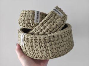 Скидка 25% на корзины из трикотажной пряжи. Ярмарка Мастеров - ручная работа, handmade.