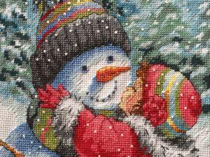 Вышивка  «Поцелуй для снеговика» . Проект завершён. Ярмарка Мастеров - ручная работа, handmade.