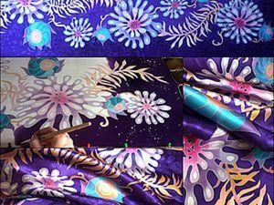 Волшебные цветы(палантин)  холодный батик.. Ярмарка Мастеров - ручная работа, handmade.