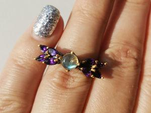 Видео кольца с лабрадоритом, аметистом. Ярмарка Мастеров - ручная работа, handmade.