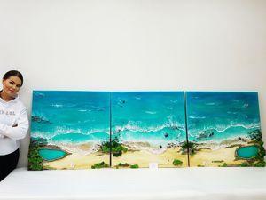 Картина- панно Триптих  «Мой океан»  в деталях. Ярмарка Мастеров - ручная работа, handmade.