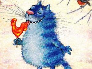 Blue Happy Cats by Irina Zenyuk. Livemaster - handmade