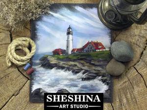 Видеоурок: рисуем морской пейзаж с маяком сухой пастелью. Ярмарка Мастеров - ручная работа, handmade.