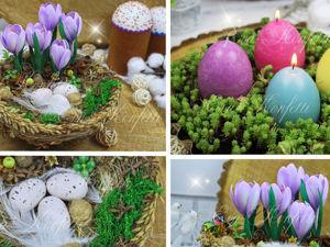 Идея Пасхального декора: декоративное гнездо и свечи в виде яиц. Ярмарка Мастеров - ручная работа, handmade.