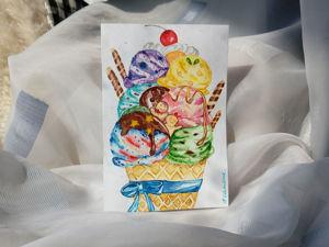 Готовая работа: Открытка акварелью  «Ice cream». Ярмарка Мастеров - ручная работа, handmade.