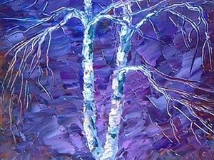 Пишем зимний пейзаж с березками в ночи маслом. Ярмарка Мастеров - ручная работа, handmade.