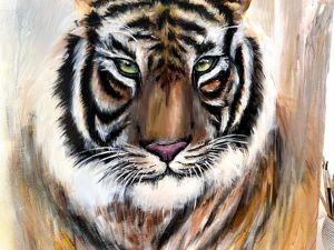Картина тигр маслом, акрилом. Ярмарка Мастеров - ручная работа, handmade.