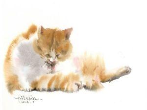 Yutaka Murakami's Cats — Watercolor and Fluffy. Livemaster - handmade