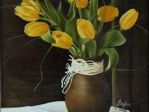 Новая картина маслом. Натюрморт с тюльпанами. Ярмарка Мастеров - ручная работа, handmade.