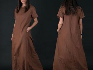 Видео,  коричневое платье из натурального льна!. Ярмарка Мастеров - ручная работа, handmade.