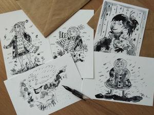 Набор монохромных открыток  «Лёгкость бытия». Ярмарка Мастеров - ручная работа, handmade.