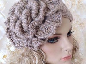 Вяжем повязку на голову с шикарным цветком от Olga Lace. Ярмарка Мастеров - ручная работа, handmade.