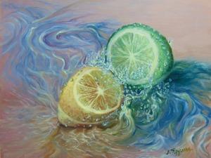 Видеоурок: пишем маслом лимон и лайм в брызгах воды. Ярмарка Мастеров - ручная работа, handmade.