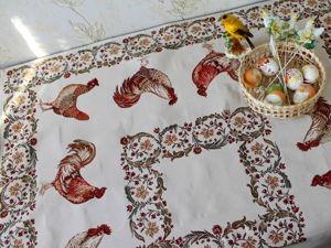 Пасхальная скатерка с петушками. Ярмарка Мастеров - ручная работа, handmade.