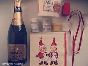 Новогодний декупаж: украшаем бутылку шампанского. Ярмарка Мастеров - ручная работа, handmade.