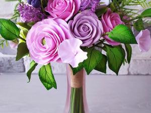 Букет с розовыми и салатовыми розами, лютиками и анемонами. Ярмарка Мастеров - ручная работа, handmade.