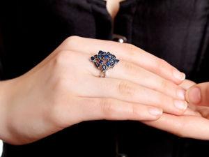 Грандиозное кольцо с натуральными сапфирами и бриллиантами. Ярмарка Мастеров - ручная работа, handmade.