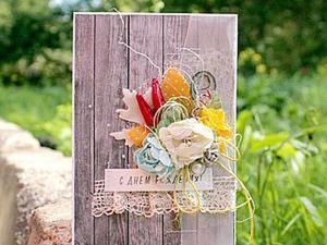 Делаем осеннюю открытку с букетом. Ярмарка Мастеров - ручная работа, handmade.