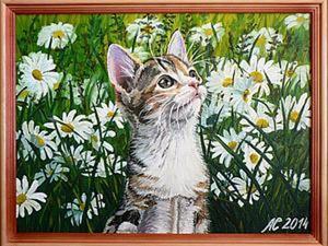"""Рисуем картину маслом """"Котенок в ромашках"""". Ярмарка Мастеров - ручная работа, handmade."""