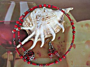 Красный коралловый чокер Вселенная. С чем носить ?. Ярмарка Мастеров - ручная работа, handmade.