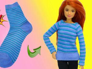 Как сшить свитер для куклы Барби. Свитер из носка. Ярмарка Мастеров - ручная работа, handmade.