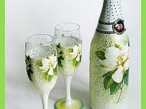 Бутылка и бокалы к свадьбе. Ярмарка Мастеров - ручная работа, handmade.