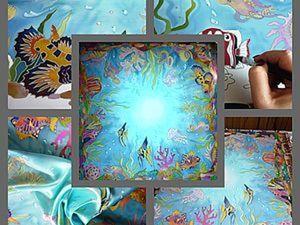 """Создание платочка """"Морские Глубины-4"""". Холодный батик. Мастер-класс от Виктории Игнатовой. Ярмарка Мастеров - ручная работа, handmade."""