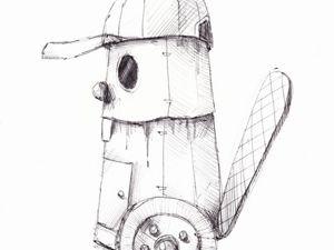День 211. Набросок ручкой  «Бобер». Ярмарка Мастеров - ручная работа, handmade.