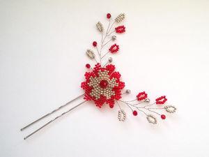 Создаем шпильку с цветком из бисера. Ярмарка Мастеров - ручная работа, handmade.