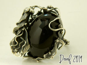 Кольцо  «Некромаг»  с черным обсидианом. Ярмарка Мастеров - ручная работа, handmade.