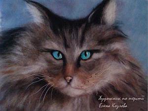 """Создание картины из шерсти """"Серьёзный кот с голубыми глазами"""". Ярмарка Мастеров - ручная работа, handmade."""
