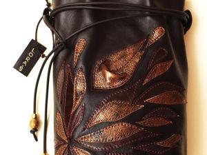 Кожаная сумочка  с декором. Ярмарка Мастеров - ручная работа, handmade.
