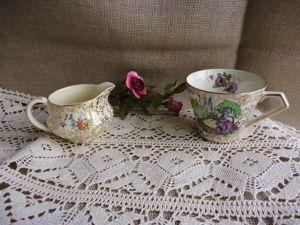 Очаровательные, редкие фарфоровые чашечка и сливочник. Ярмарка Мастеров - ручная работа, handmade.
