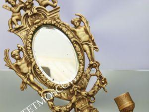 РАРИТЕТИЩЕ Подсвечник антикварный зеркало ангел 19век бронза латунь 18. Ярмарка Мастеров - ручная работа, handmade.