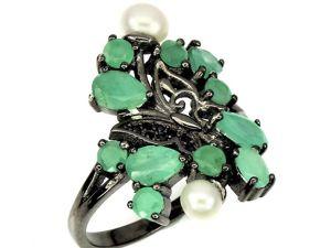 Видеоролик: Кольцо с натуральными изумрудами, жемчугом  «Зеленушка». Ярмарка Мастеров - ручная работа, handmade.