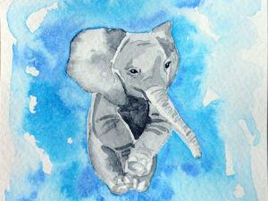 Рисуем милого слоника акварелью. Ярмарка Мастеров - ручная работа, handmade.