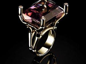 Золотое кольцо Бамбук с аметистом и бриллиантами. Ярмарка Мастеров - ручная работа, handmade.