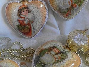 """Елочные украшения -сердечки""""На кануне Рождества"""". Ярмарка Мастеров - ручная работа, handmade."""