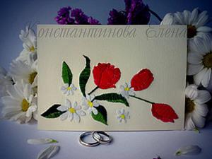 Мастер-Класс.Вышиваем на бумаге.Приглашение на весеннюю свадьбу.. Ярмарка Мастеров - ручная работа, handmade.