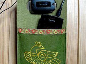 Sew a Handy Pocket with a Slavic Bird for Charging Your Phone. Livemaster - handmade