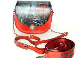 Кожаная сумочка с ручной росписью. Ярмарка Мастеров - ручная работа, handmade.