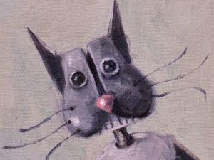 День 312. Миниатюра маслом  «Уличный кот» . 13-я работа из серии 50 дней масла. Ярмарка Мастеров - ручная работа, handmade.
