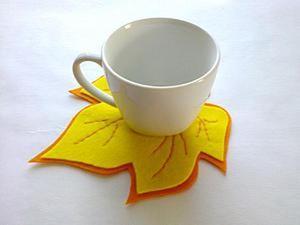 Фетровая подставка под чашку «Листопад» своими руками. Ярмарка Мастеров - ручная работа, handmade.
