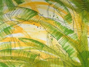 Платок  «Солнечные тропики». Ярмарка Мастеров - ручная работа, handmade.