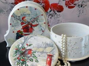 Новогодние сувениры: Часы и шкатулка  «Рождество». Ярмарка Мастеров - ручная работа, handmade.
