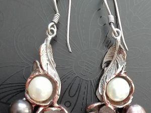 Скидка 15% на Серьги серебро черный и белый жемчуг. Ярмарка Мастеров - ручная работа, handmade.