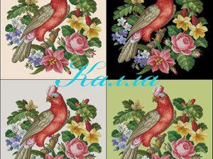 Схема какаду на цветах. Ярмарка Мастеров - ручная работа, handmade.