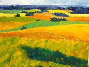 Мастер-класс: живопись маслом  «Летнее поле». Ярмарка Мастеров - ручная работа, handmade.