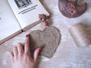Вяжем крючком джутовую салфетку в форме сердца. Ярмарка Мастеров - ручная работа, handmade.