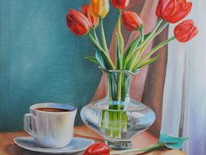 Новая работа! Натюрморт с красными тюльпанами. Ярмарка Мастеров - ручная работа, handmade.